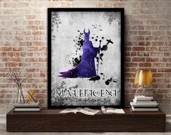 Maleficent, poster,print,Disney, Fairytale, Evil, Witch, Dark, Villain, wall, art, gift for her, gift, gift for him, kids