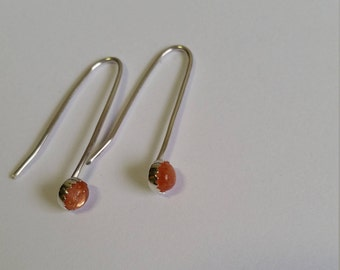Sterling Silver earrings with Sun stone 5 mm