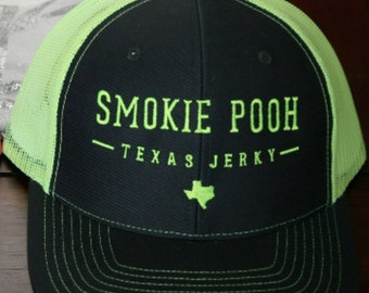 Smokie Pooh Texas Jerky Caps /Trucker/Hats/Gear/Caps/Cool/Yellow/Jerky/Beef/Athletic/Green/Women/Men/hiking/fishing/outdoors