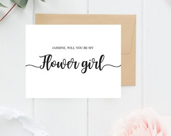 Flower Girl Proposal Card Will you be my Flower Girl Card Will you be my Flowergirl Wedding Card Flower Girl Ask Bridal Party Cards Wedding