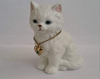 Birthstone Kitten; Lefton Kitten; White Cat Figurine; March Birthstone Cat; Aquamarine Cat Figurine; Collectible; Ceramic Cat