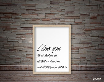 I love you quote prints #P001