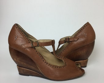 Frye Brown Leather Wood Wedges