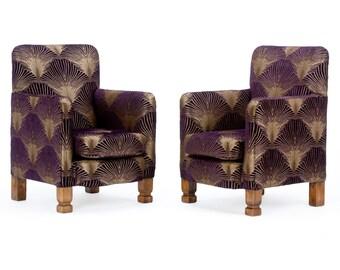The Duo of Art Deco Style Aubergine 'Metropolis' Armchairs.