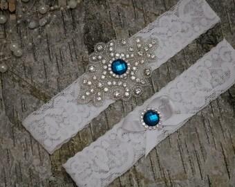 Bridal garter set/Rhinestone garter/Lace garter/teal garter/teal rhinestone garter/bridal/rhinestone garter/bridal gift