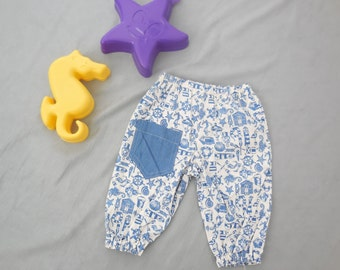 boys trousers in nautical print, contrast pocket on rear