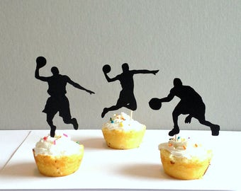 Basketball Cupcake Toppers, Basketball Player Cupcake Picks, Basketball Party Supplies