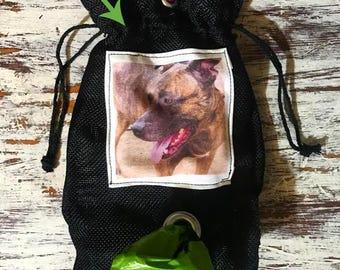 "Custom Photo dog waste carrier or treat bag 6"" X 9"""