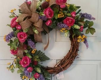 Bright Summer Grapevine Wreath