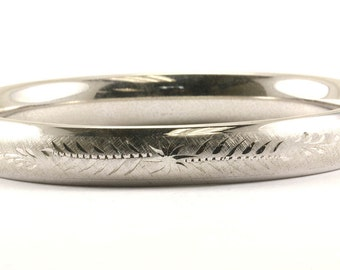 Vintage Carla Floral Etching Bangle Bracelet 925 Sterling Silver BR 386-E