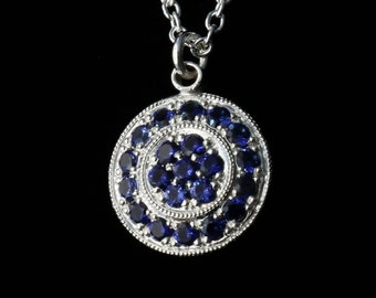 Art Deco - Royal Blue Sapphire - Hand Engraved - Sterling Silver - Traditional Pave