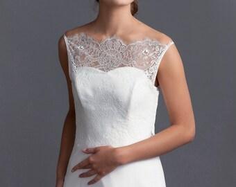 Simple wedding topper, Lace topper, Delicate lace topper, Wedding lace jacket, Off-shoulder lace topper, Off-shoulder bridal bolero