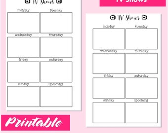 Printable TV SHOWS  Inserts For Mini Happy Planner