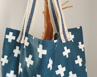 The Market Tote - Blue + Cross