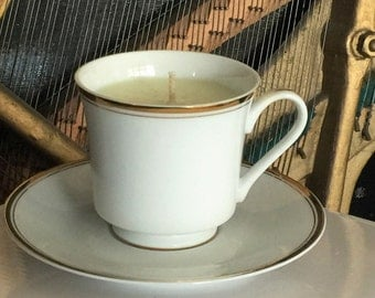Vintage White and Gold Gardenia Teacup Candle