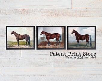 Vintage Horse Print Set.  Horse Art. Horse Print. Horse Decor. Horse Painting. Horse Bedroom Decor. Horse Bedroom Art. Horse Nursery Art.
