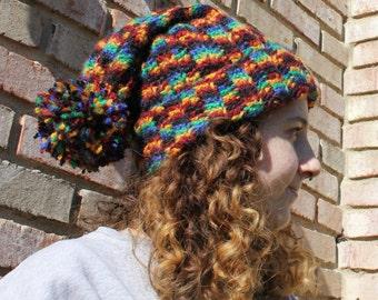 Variegated 80s Pattern Modern Beanie, Oversize Beanie, Polyester Yarn, Multicolored, Warm Hat
