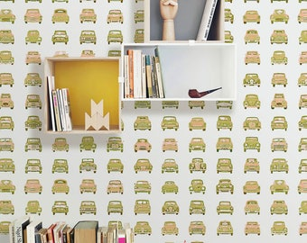 Boys Retro Cars Wallpaper, Removable Wallpaper Kids, Geometric Cars Boys Pattern, Classic Car Mural, Children's Temporary Wallpaper