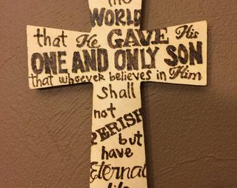 Wood Cross | Custom Wood Cross | Wood Burned Cross | Cross with Bible Verse | Wood Burned Bible Verse