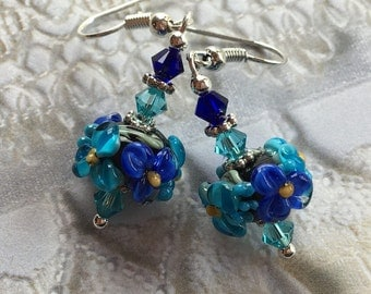 Flower Lampwork Earrings with Turquoise & Pale Blue Flowers, Lampwork Jewelry, SRA Lampwork Earrings, Mothers Day, Gift For Her