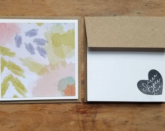 5 FOLDED blank recycled mini notecards * kraft paper envelopes * recycled note cards * mini recycled cards * mini envelopes * blank cards