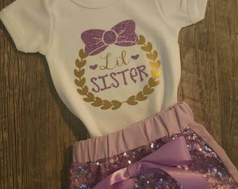 Newborn,  Baby Girl,  Toddler,  Girl, Lavander,  Glitter,  and Gold, Sequined Shorts, Bodysuit, or, T-shirt and Bow, Little Sister