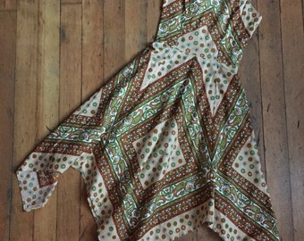 vintage 1970s dress // 70s cotton paisley dress