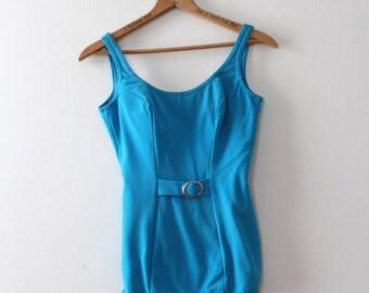 vintage 1960s swimsuit // 60s blue mod swimsuit bathing suit