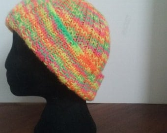 Neon Handknit Ribbed Hat