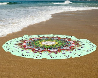 Sea green beautiful Boho beach towel, Cotton Large round beach towel, Yoga mat, High Quality towels