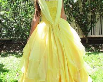2017 Belle Princess Costume Gown Dress for Teens Adults