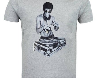 Grey Bruce Lee on Decks Style T-shirt