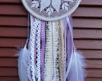 Modern Lace Dreamcatcher, One-of-A-Kind, Wall Hanging, Home Decor, Gift for Her, Whimsical Gift, Purple, Mother's Day