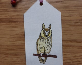 Original double-sided watercolor and pressed flower bookmark of long-eared owl and leaves