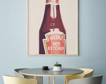 Ketchup print, kitchen wall art, kitchen decor, ketchup wall art, digital print, ketchup poster, vintage print, vintage poster, home decor