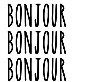 Bonjour Typography Wall Art Print Quote