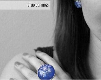 Earring studs - Lace earrings - Hypoallergenic earrings - Vintage earrings - Purple earrings - Stud earrings - Small earrings