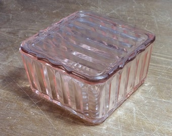 refrigerator box. vintage pink depression glass square lidded refrigerator box r