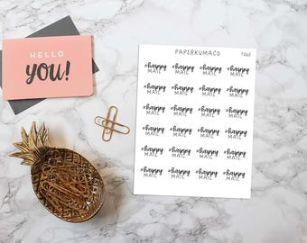 happy mail text lettering stickers for bullet journals and planners - T060