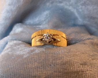 Diamond 14 K Solid Gold Wedding Set Upraised 6 Prong Setting Ring Vintage 1960s