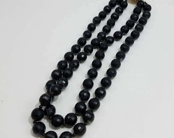 Beautiful Jet Black Double Strand Beaded Necklace Made in Austria