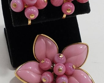 Stunning Jewelry Set of Brooch with Matching Screw Back Earrings in Floral Theme