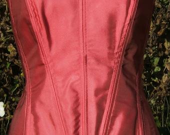 Pink Silk Corset UK Size 14