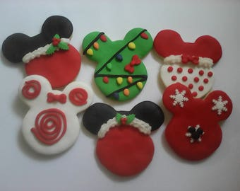 12 Mickey & Minnie Mouse Christmas Cookies Party Favors Baked Goods Sugar Cookies Handmade Cookies Decorated Cookies Christmas Cookie Gifts