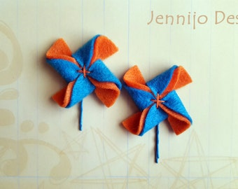 Felt pinwheel bobby pins, Girl's Spring hair accessories, Handmade Summer pinwheels hair pins, Turquoise Blue & orange felted bobby pins,