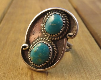 Vintage Old Pawn Turquoise Ring Sterling Silver Two Stones Navajo Southwest Size 9 1/4 Native American Jewelry