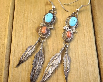 Vintage Southwest Dangle Earrings Feathers Turquoise & Coral Sterling Silver Artisan