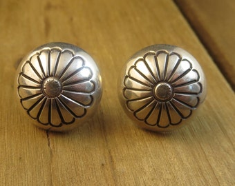 Vintage Southwest Stud Earrings Sterling Silver Artisan 5.1 Grams