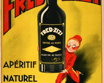 """Vintage advertising poster. 1932 french """"FRED ZIZI"""" appetizer advertising poster. decoration design french kitchen - art print"""
