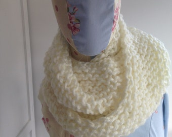Hand knitted cream infinity / loop scarf 100% Acylic